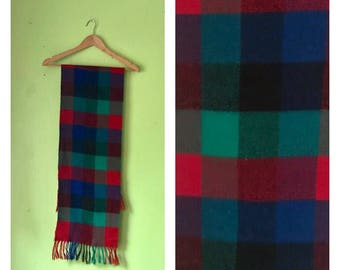 Vintage 1970s Checkered Scarf PREPPY colorful plaid scarf 70s winter scarf Hipster scarf