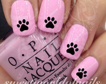 Black Paws Nail Art Nail Water Decals Transfers Wraps