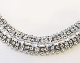 Exquisite Vintage 1950s Rhodium Plated Clear Rhinestone Glamour Bracelet