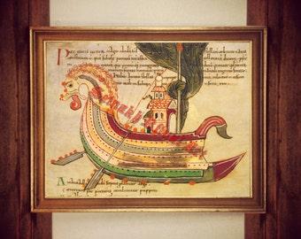 Viking ship poster, nordic print, Vikings poster, norse art print, scandinavian home decor, norse print, ocean, mythology, dragon boat #458