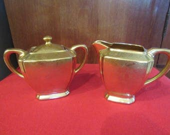 Gold Bavarian Sugar and Creamer with Rose Floral Embossing
