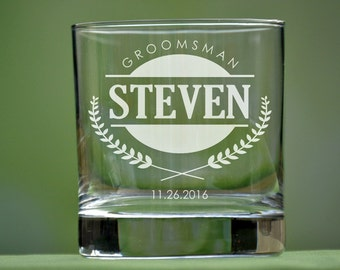 Groomsmen Whiskey Glass, Personalized Whiskey Glasses, Scotch Glasses, Groomsmen Gift, Wedding Party Gifts, Rocks Glass, Bourbon, Best Man