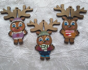 Friendly Deer Christmas Ornament-Tree Decoration-Cute Xmas Ornaments-Tree Toys-Wood decoration for Christmas tree-Hand painted-Xmas gift