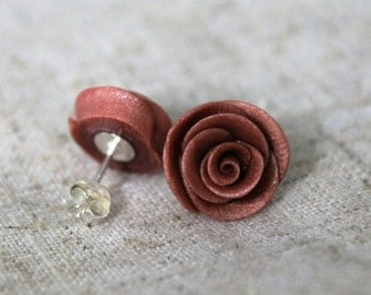 25% OFF! Rose Gold Polymer Clay Stud Earrings