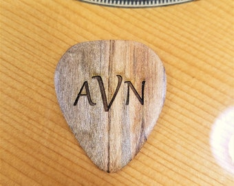 Personalized Monogram Guitar Pick, Personalized Custom Engraved Monogram Plectrum, Wood Laser Burned Guitar Pick, Monogram Guitar Pick
