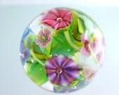 1 FOCAL FlowerBead-  artisan lampwork bead. Handmade by German glass artist Sabine Frank