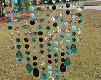 Teal Crystal Suncatcher, Crystal Sun Catcher,  Window Art, Patio Decor, Yard Art, Garden Decor, Glass Suncatcher, Gift For Her  SC 4114D