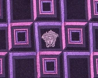 Authentic Gianni Versace Medusa on Dark Purple Check Classic Jacquard Silk Necktie