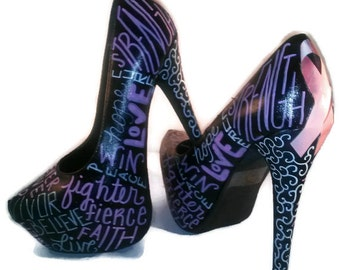 Breast Cancer Heels / Survivor Heels / Women's Breast Cancer Pumps / Hand Painted Shoes / Decoupage Shoes / Pink Shoes / Womens Pumps