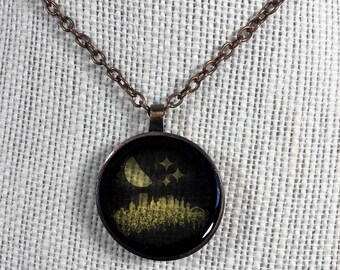 Pierogie Moon Over Pittsburgh Pendant - Glossy front, opaque back
