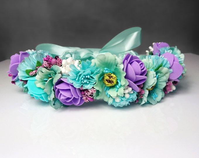 Mint purple flower floral CROWN WREATH, artificial flower satin ribbon Flower girl Bride rose cherry, fake mint purple pastel wedding
