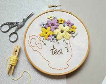 SALE*Floral Tea Lovers Tea Cup Embroidery - Hand Embroidered Bespoke Wall Hanging
