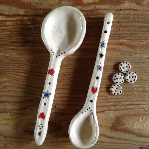 Handmade Ceramic Spoons, rustic, decorative spoons, kitchen accessories