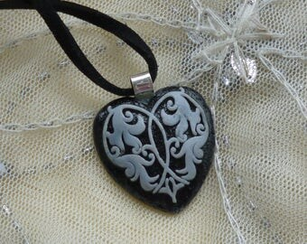 Fused Glass Pendant.  Fused Glass Black and White Heart Necklace.  Freeze and Fuse Pendant