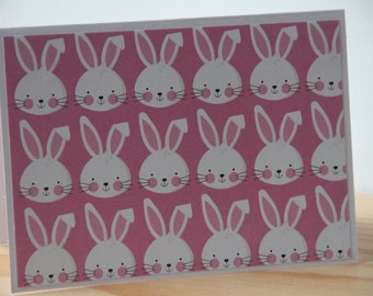 6 Easter Bunny Note Cards. Spring bunny Cards. Easter Note Cards.  Easter Bunny Cards. Blank Easter Cards. Party Invitations. Thank You Card