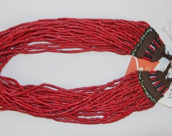 Glass Bead Necklace : Naga Heavy Red Multi-strand Glass Bead Necklace, with Macrame Closure #1057