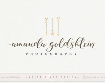 Gold arrows logo, Photography logo, stylish logo, gold watermark, boho style logo, handwritten logo design 561