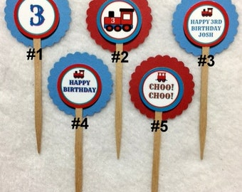Set Of 12 Personalized Train Choo Choo 3rd Birthday Party  Cupcake Toppers (Your Choice Of Any 12)
