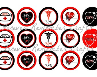 INSTANT DOWNLOAD BSN Nursing 1 Inch Bottle Cap Image Sheets *Digital Image* 4x6 Sheet With 15 Images