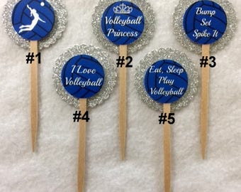 Set Of 12 Personalized Volleyball Birthday Cupcake Toppers (Your Choice Of Any 12)