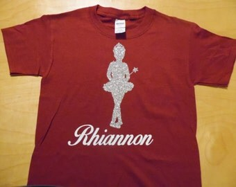 Glitter Personalized Ballerina Short-Sleeved T shirt with name of your choice - size youth large 20-22