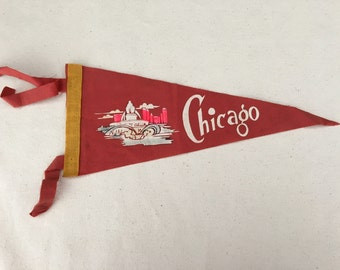 Chicago Pennant - Vintage Mini Pennant - Flag - Prop - Wall Hanging - Souvenir - Day Glow - City Pennant