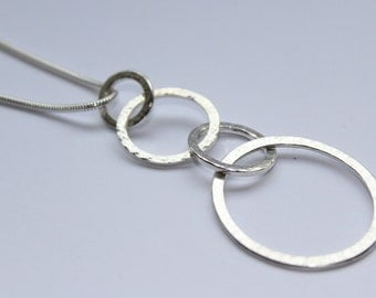 "Handmade Silver Quadruple Textured Hoop Necklace & 20"" Snake Chain"
