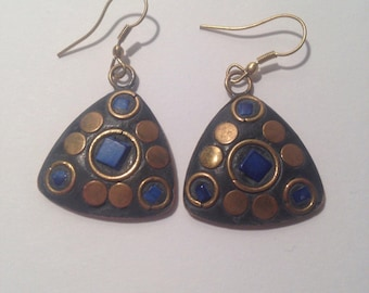 Earrings blue Czech mosaic