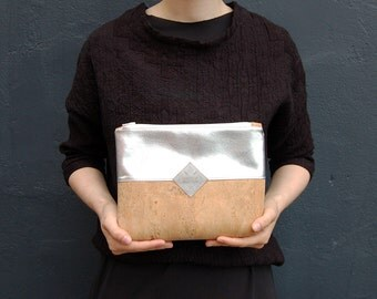 clutch, cork- leather, faux-leather, bag vegan, clutch cork, bag silver, clutch silver, brown, ecru
