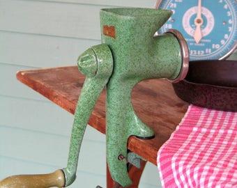 Vintage Harper Green Enamelware Meat Grinder Model 1000