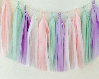 Tissue Paper Tassel Garland - Pink/Mint/Lavender/White - Pastel colors Birthday decorations - Baby shower - Party Centerpieces