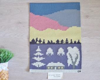 Vintage Swedish Woven Wool Decor Tapestry Flamsk Flemish Rollakan Handwoven Signed Decor Scandinavian Nordic Landscape Horizon #3-05