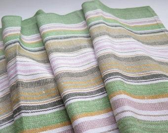Vintage Swedish Linen Table Runner Green Striped Long Table Runner, 137 x 40 cm / 53,9 x 15,7 inch, Scandinavian Home Textiles #3-04