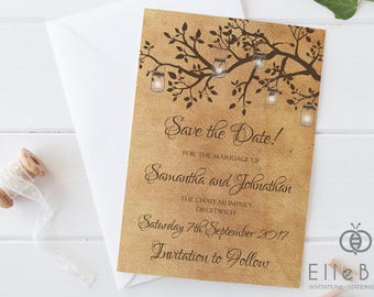 Vintage Save The Date Card // Branches & Lanterns // Vintage Wedding Save The Date // Poplar Collection // Elle Bee Design