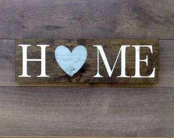 Home sign|rustic home decor|home wood sign|rustic wood sign|housewarming gift|home decor|entry way sign|heart decor|farmhouse decor