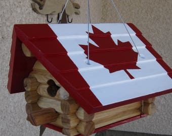Log Toy/ Birdhouse/ Canadian Flag