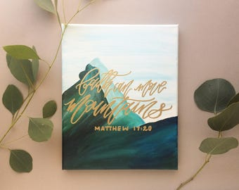 Matthew 17:20 green and gold calligraphy painting