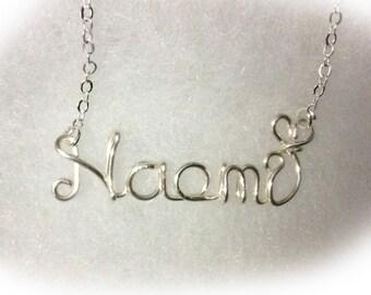 Naomi necklace,Name Necklaces,Personalized wedding jewelery,Birthday gift,Bridesmaid necklace,Custom Name necklace