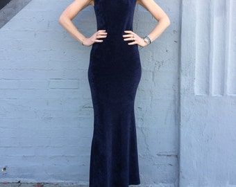 vintage 90s navy velvet fishtail mermaid  dress holiday special occasion size xsmall