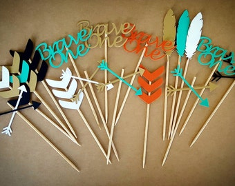 Brave One, Cupcake Toppers, Tribal Cupcake Toppers, Boho Cupcake Toppers, Brave One Cupcake Toppers, Tribal Decor, Boho Decor, Tribal, Boho