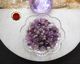4 oz Amethyst Mini Chips, Tumbled Amethyst Chips, Undrilled Chips, Tumbled Stones for Grids, Chips for Crafts & Jewelry, Protection Crystal