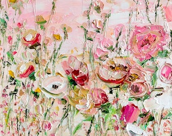 Large Oil Painting Original Canvas Light Biege Pink Peony Roses Abstract Flowers Long Large Palette Knife Textured Painting Flowers Wall Art