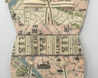PARIS- Vintage Style Bathing Suit, Bathers, Map Paper, Map Art, Wall Hanging.