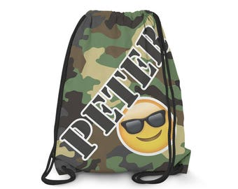 Camo Drawstring with Emoji // Personalized Drawstring Backpack // Personalized Backpack // Sling Backpack // Emoji Bag // 1029