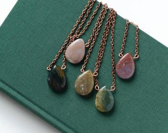 Indian agate necklace on copper chain
