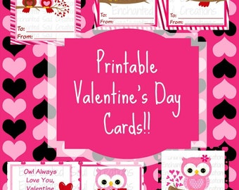 Owl Printable Valentines, Valentine Printable, Valentine Card, Candy Bag, Digital, School, Card, PDF, Treat Bag, Digital Cards