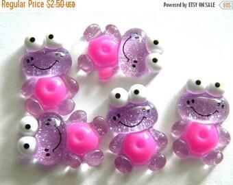 HALF PRICE 5 Purple Glitter Frog Resin Flatbacks - Resin Cabochons