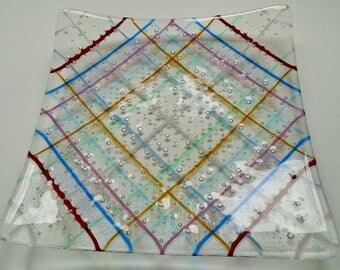 fused glass square dish, with multi coloured bubble striped pattern