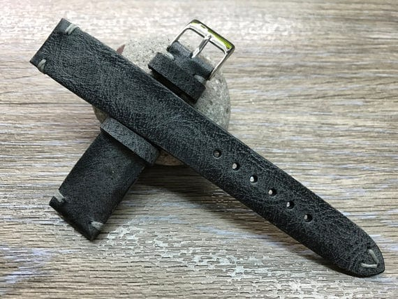 Leather Watch Strap, handmade Leather Watch Band, FREE SHIPPING Vintage Black Leather watch Band for Rolex, IWC & Omega watch 18mm/19mm/20mm