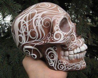 Airbrushed - Handmade - Handpainted - Ceramic - Swirls - Day of the Dead - Dia de los Muertos - Mexican - Sugar Skull MADE TO ORDER